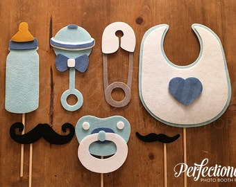 7 Baby Boy Photo-Booth Props | Baby Boy Props | Baby Shower Props