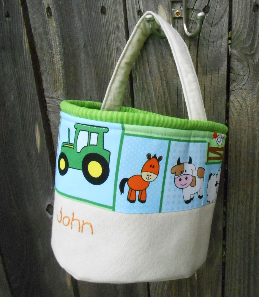 Easter basket in farm tractor fabric handmade personalized - Custom made easter baskets ...