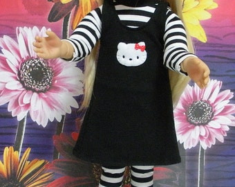 """Fits 18"""" Kidz 'n' Cats Doll ... Black Jumper with White Kitty ... D272"""