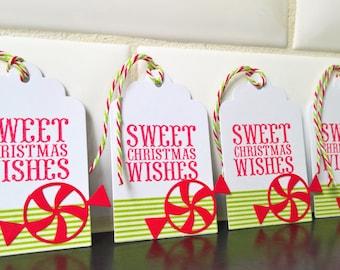 Christmas Gift Tags Set of 5, Holiday Hang Tags, Christmas Wrapping, Candy Cane Tags