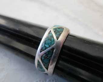 vintage sterling silver ring-turquoise, band, size 7