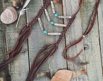 EARTH MEDICINE - Brown leather Native American Inspired Breastplate Necklace