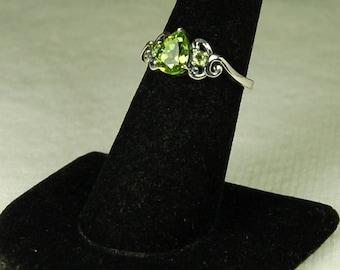 Peridot Ring, Size 7, Bright Green, Pear Shape Peridot, Victorian Setting, Sterling Silver, August Birthstone, Green Peridot