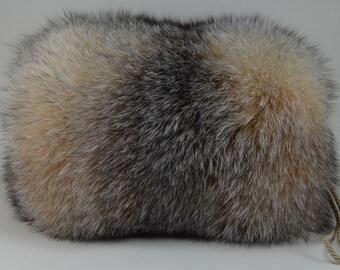Crystal Fox Fur Hand muff New Handmuff made in usa