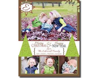 Photo Christmas Card - Multiple Designs - Digital File - You Print - Customizable - 3-4 photos