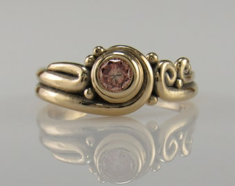 R1032- 14ky Gold Pink Diamond Ring .30 ct- One of a Kind