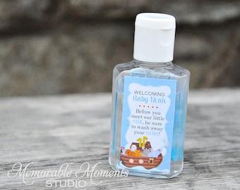 PRINTABLE Blue Noah's Ark Hand Sanitizer Labels for Baby Shower Favors - It's a Boy - Memorable Moments Studio