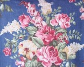 Antique English Cabbage Rose & Lilac Vintage Floral Fabric Custom Decorative Throw Pillow