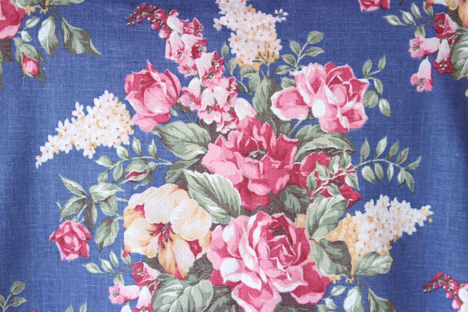 antique english cabbage rose lilac vintage floral fabric