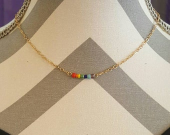 Roy G. Biv Rainbow Necklace, Delicate Beaded Necklace, Pride Jewelry