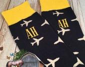 Plane Socks - Mens Monogrammed Socks Airplane - Pilot Socks - mens dress socks - novelty gift - mens gift - mens christmas gift