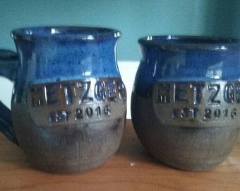 Custom made set of wedding or anniversary mugs for the coffee lovers