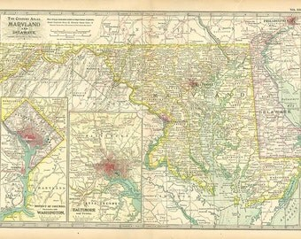 MARYLAND and DELAWARE U.S.A. MAP 1897 - Century Atlas  book page 33