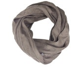 Natural linen scarves Earth grey color linen infinity scarf