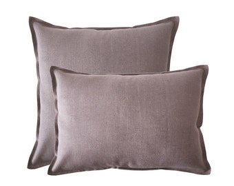 Decorative pillow cover Handmade soft light purple linen lumbar pillows or square pillow covers