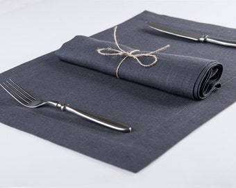Cloth napkin or placemat set of six Pure linen placemats Charcoal table napkins