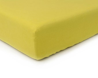 Mustard linen fitted sheet, Queen bed sheets, King sheets, Double Full or Twin size fitted sheets, Mustard linen bedding