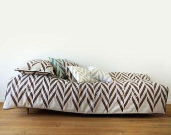 Printed linen cotton duvet cover Brown ZIGZAG  Queen size duvet King duvet cover Double duvets Twin or custom size bedding
