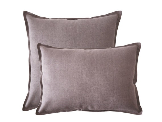 Decorative pillow cover Handmade soft light purple linen lumbar pillows or square pillow covers