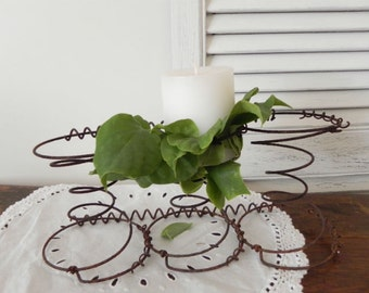 Old, Rustic Farmhouse Decor - Rusty Bedsprings Tabletop Centerpiece