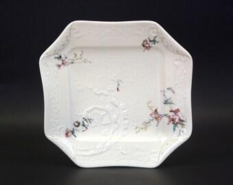 Vintage Haviland & Co Limoges Embossed Napkin Fold Antique Salad Plates, Set of 3 (E3239)