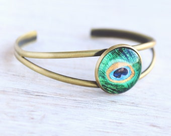 Peacock Feather Cuff - Peacock Collection - Bridesmaid gift, Wedding Jewellery