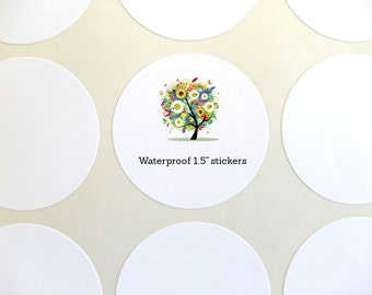 "Waterproof Labels, Circle Label, 1.5"" Round Label Set of 30"
