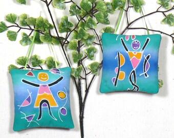 Two Ornaments, Hanging Sachet, Scented Ornament, Door Knob Pillow, Nursery Decor, Lavender Sachet, Funky Ornament, Tree Decoration