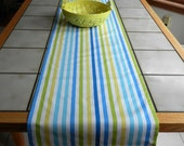 Striped Table Runner Blue, Green, Yellow, White Stripes, 15 x 78 inches,  Nautical, Beach Decor, Wedding Decor, Shower,  Kitchen, Dining