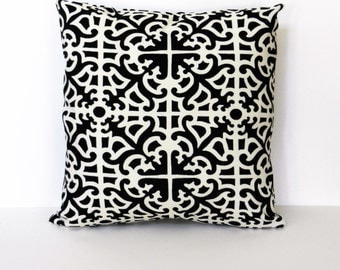 Black, White Throw Pillow Cover, soil and stain repellant fabric 18 x 18 inches with invisible zipper closure