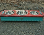 Pet Feeding Stand, Red Oak Stain & Turquoise Cottage Chic Elevated Dog or Cat Pet Feeder, One 1 Qt, Two 1 Pint Stainless Bowls Made To Order