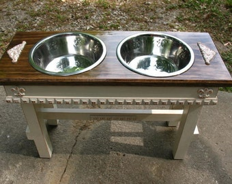 Raised Dog Bowl Pet Feeder, Dog Feeding Station, Jacobean Stained with Antique White, 2 Two Quart Stainless Bowls,  Made to Order