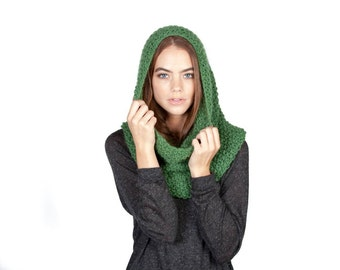 Feather light, hand knit merino alpaca snood, infinity scarf, caplet, and cowl in forest green.