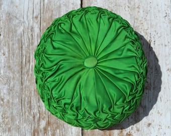Vintage 50s  Kelly Green Tufted Pleated Satin Boudoir Pillow