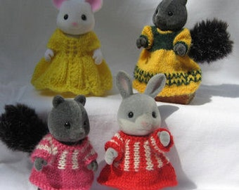PDF Pretty Frocks knitting pattern for Sylvanian & Calico Critter Families decoration, cute kawaii Digital