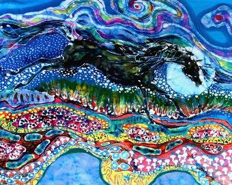 Horse born of Moon Energy  -  detail print from original batik