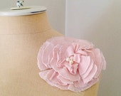 Flower Pin In Classic Peony Pink With Pearl Bead Center