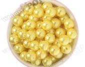 16mm - Pearl Metallic Yellow Gumball Beads, Chunky Pearl Beads, 16mm Pearl Beads, Pearl Gumball Beads, Bubble Gum Beads, 2MM Hole