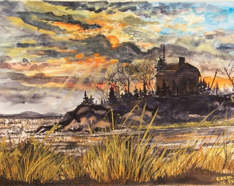 Sunrise at Marquette Lighthouse Marquette,Mi. Print