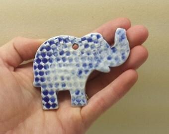 Elephant Christmas Ornament, Handmade Ceramic Ornament,  Pottery ornament elephant, elephant lover gift, good luck elephant