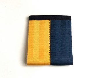 Seatbelt Wallet with ID Pocket - Yellow and Dark Blue Vegan Wallet