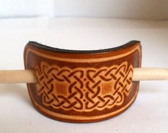 Leather hair barrette, hair slide, stick, size XS, tan,  embossed Celtic design