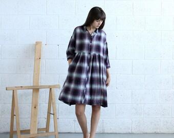 Embroidered Love Dress, Purple plaids
