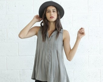 Final Summer Sale Pleated Tunic Top, Light grey.