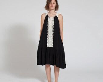 Halloween Sale SALE 30% Lace Peplum Hem Black Dress, Black Tank Dress