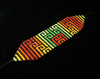 Rainbow Tribal Handmade Beaded Bracelet Inspired by Colombia Indigenous Jewelry Seed Bead