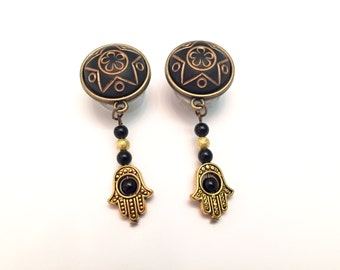"1/2"" Plugs 7/16"" 000g 9/16"" Hamsa Hand Gauges 12mm/14mm/11mm Gold And Bronze Dangle Plugs And Tunnels Acrylic/Steel/Wood Plugs"