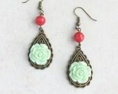 Mint Green Red Earrings, Green Flower Red Earrings