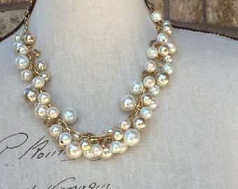 Gold chain with champagne white and ivory pearls, bauble necklace