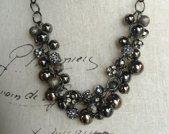 One of a kind gunmetal necklace , statement necklace, chunky necklace